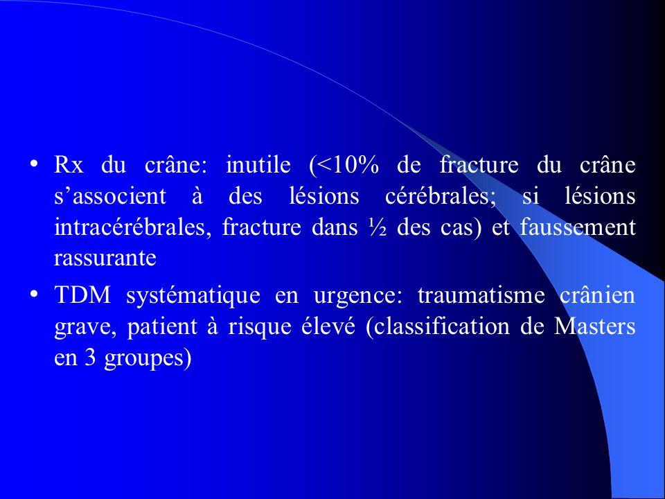 Rx du crâne: inutile (<10% de fracture du crâne sassocient à des lésions cérébrales; si lésions intracérébrales, fracture dans ½ des cas) et faussement rassurante TDM systématique en urgence: traumatisme crânien grave, patient à risque élevé (classification de Masters en 3 groupes)