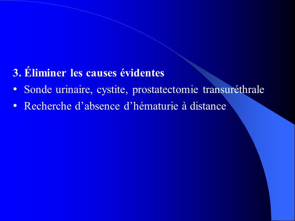 3. Éliminer les causes évidentes Sonde urinaire, cystite, prostatectomie transuréthrale Recherche dabsence dhématurie à distance