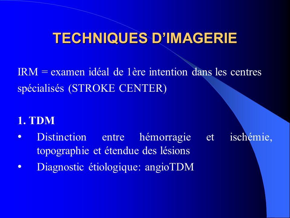 TECHNIQUES DIMAGERIE IRM = examen idéal de 1ère intention dans les centres spécialisés (STROKE CENTER) 1.