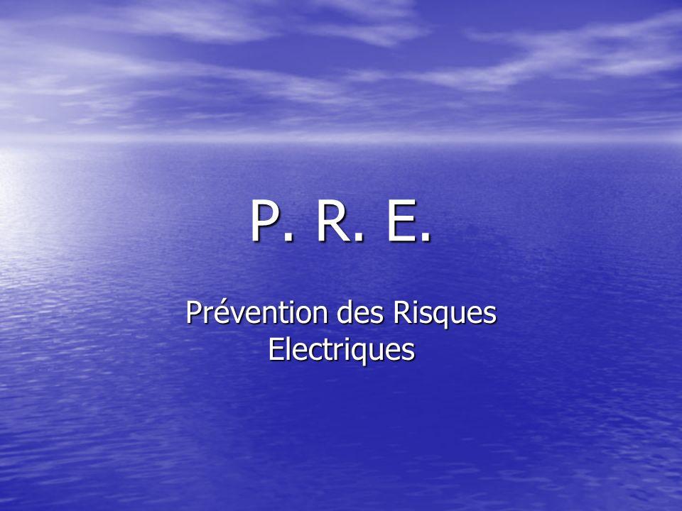 P. R. E. Prévention des Risques Electriques