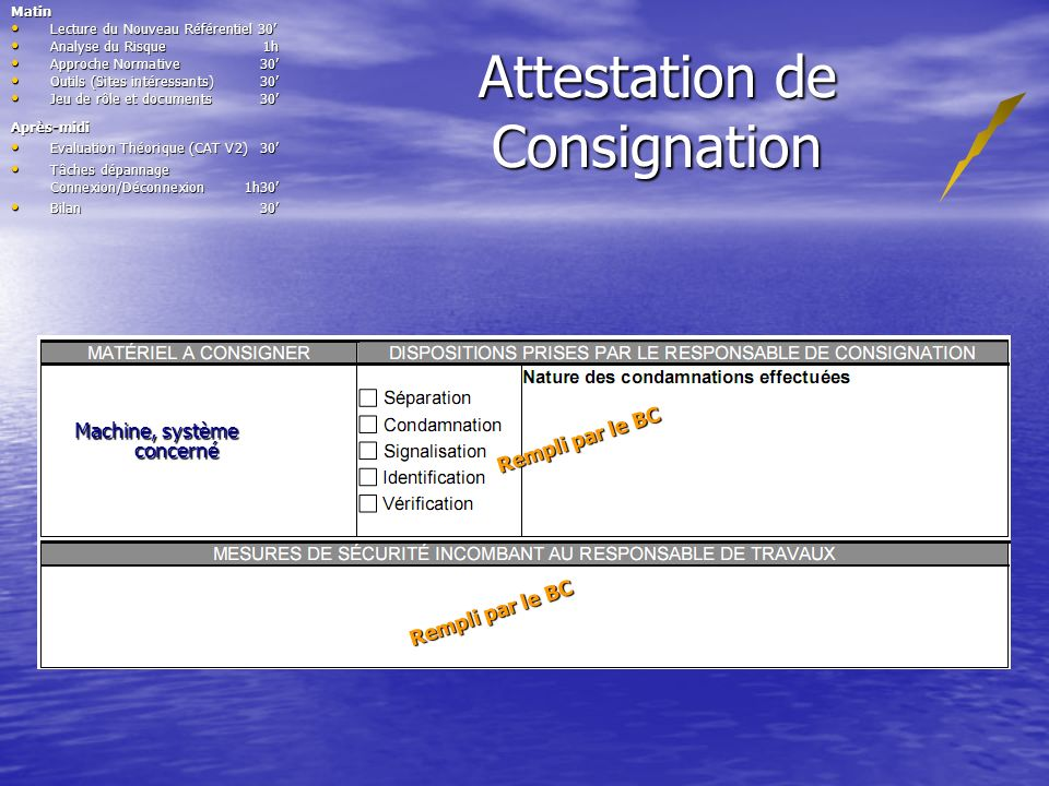 Attestation de Consignation Après-midi Evaluation Théorique (CAT V2)30 Evaluation Théorique (CAT V2)30 Tâches dépannage Connexion/Déconnexion 1h30 Tâc