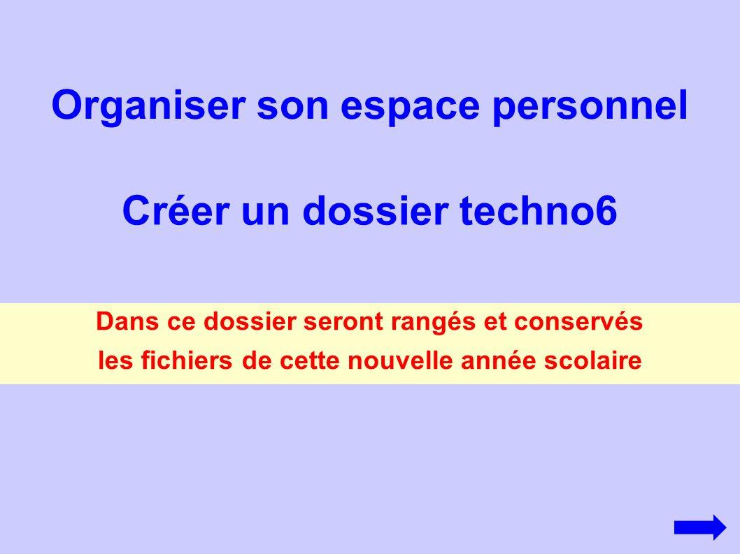Cliquer sur l icone H en bas à droite de l écran Sélectionner Explorateur Donner comme nom à ce nouveau dossier « techno6 » Pui s Fichier Nouveau Dossier Réduire cette fenêtre en cliquant sur le mot « Réduire »