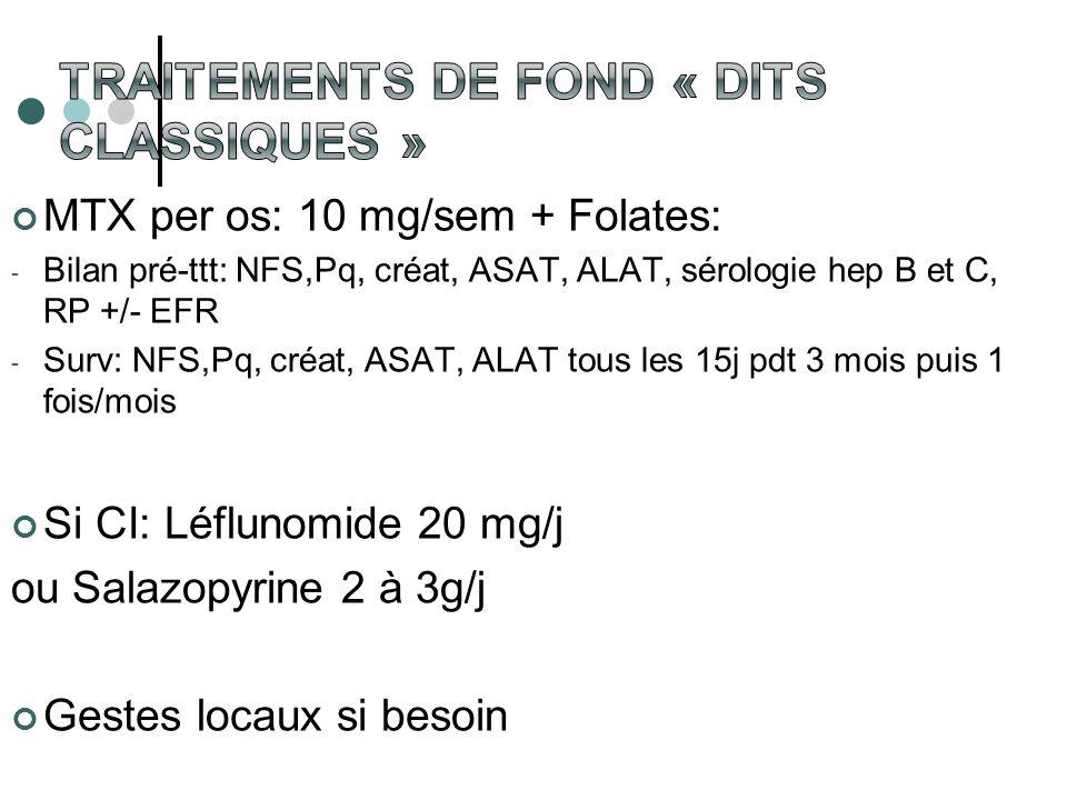 MTX per os: 10 mg/sem + Folates: - Bilan pré-ttt: NFS,Pq, créat, ASAT, ALAT, sérologie hep B et C, RP +/- EFR - Surv: NFS,Pq, créat, ASAT, ALAT tous l