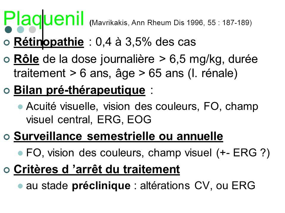 Plaquenil (Mavrikakis, Ann Rheum Dis 1996, 55 : 187-189) Rétinopathie : 0,4 à 3,5% des cas Rôle de la dose journalière > 6,5 mg/kg, durée traitement >