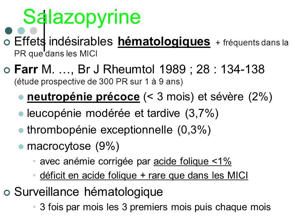 Salazopyrine Effets indésirables hématologiques + fréquents dans la PR que dans les MICI Farr M. …, Br J Rheumtol 1989 ; 28 : 134-138 (étude prospecti