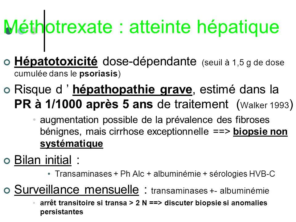 Méthotrexate : atteinte hépatique Hépatotoxicité dose-dépendante (seuil à 1,5 g de dose cumulée dans le psoriasis) Risque d hépathopathie grave, estim
