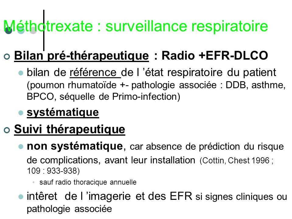 Méthotrexate : surveillance respiratoire Bilan pré-thérapeutique : Radio +EFR-DLCO bilan de référence de l état respiratoire du patient (poumon rhumat