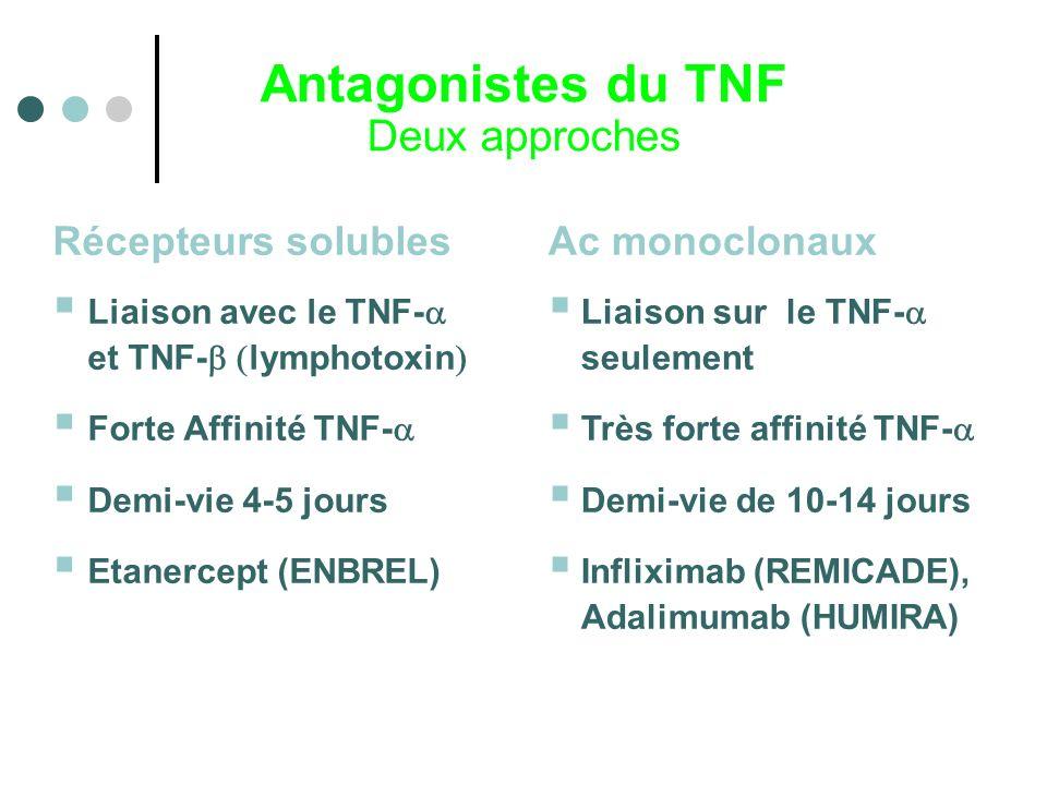 Antagonistes du TNF Deux approches Ac monoclonaux Liaison sur le TNF- seulement Très forte affinité TNF- Demi-vie de 10-14 jours Infliximab (REMICADE)