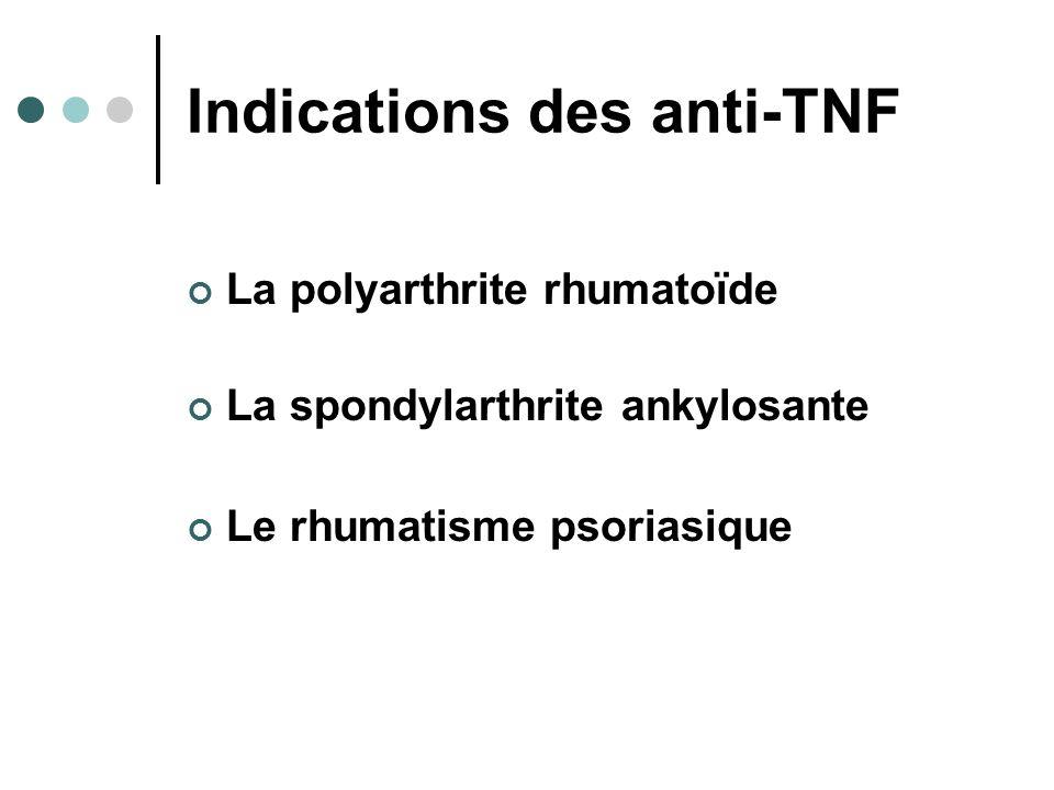 Indications des anti-TNF La polyarthrite rhumatoïde La spondylarthrite ankylosante Le rhumatisme psoriasique