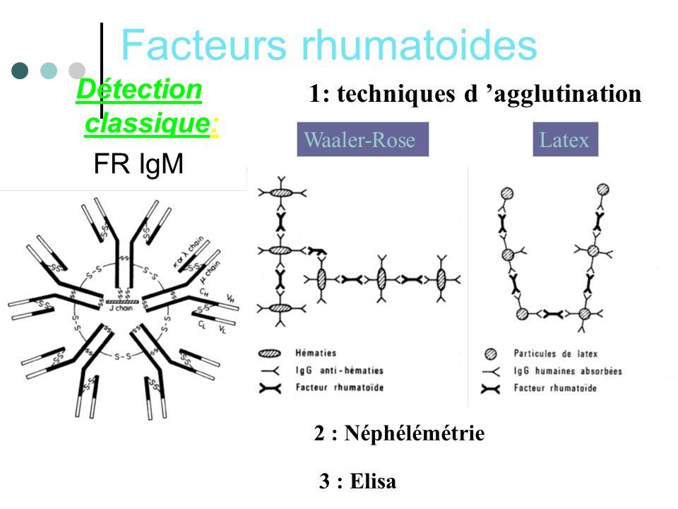 Facteurs rhumatoides Détection classique: FR IgM 1: techniques d agglutination LatexWaaler-Rose 2 : Néphélémétrie 3 : Elisa