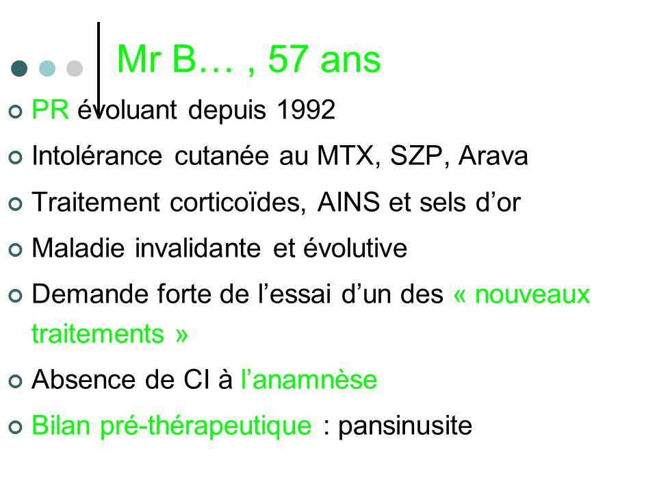 Mr B…, 57 ans PR évoluant depuis 1992 Intolérance cutanée au MTX, SZP, Arava Traitement corticoïdes, AINS et sels dor Maladie invalidante et évolutive