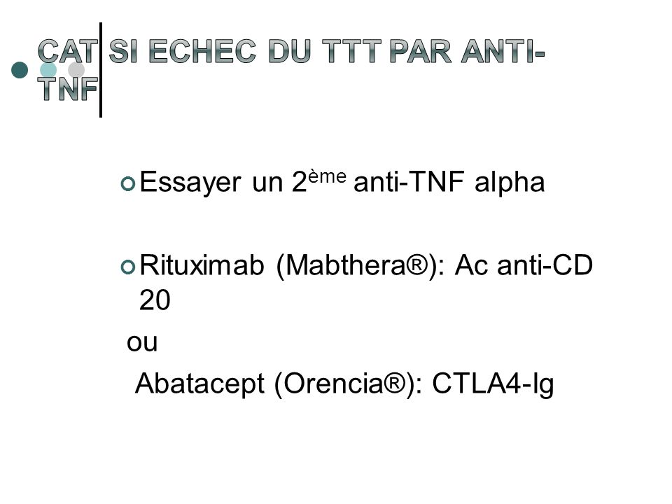 Essayer un 2 ème anti-TNF alpha Rituximab (Mabthera®): Ac anti-CD 20 ou Abatacept (Orencia®): CTLA4-Ig