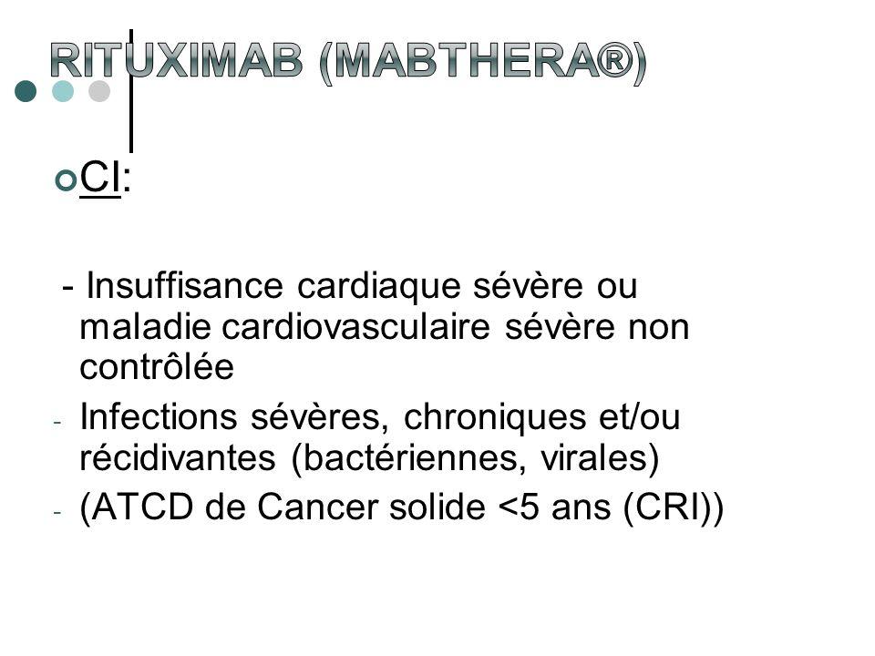 CI: - Insuffisance cardiaque sévère ou maladie cardiovasculaire sévère non contrôlée - Infections sévères, chroniques et/ou récidivantes (bactériennes