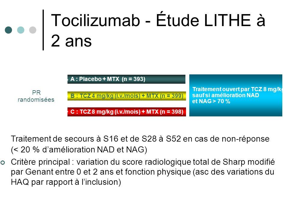 Tocilizumab - Étude LITHE à 2 ans Traitement de secours à S16 et de S28 à S52 en cas de non-réponse (< 20 % damélioration NAD et NAG) Critère principa