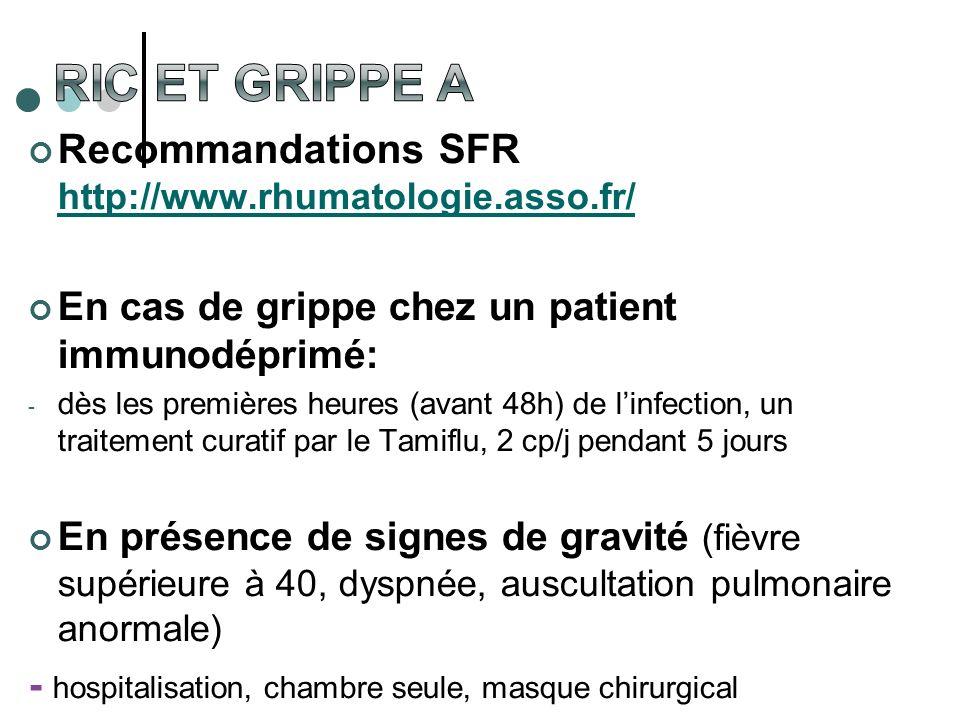 Recommandations SFR http://www.rhumatologie.asso.fr/ http://www.rhumatologie.asso.fr/ En cas de grippe chez un patient immunodéprimé: - dès les premiè