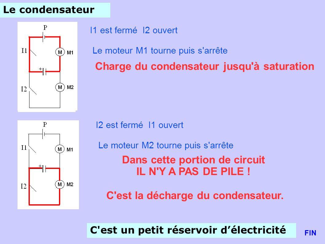 Le condensateur I1 est fermé I2 ouvert Le moteur M1 tourne puis s'arrête Charge du condensateur jusqu'à saturation I2 est fermé I1 ouvert Le moteur M2