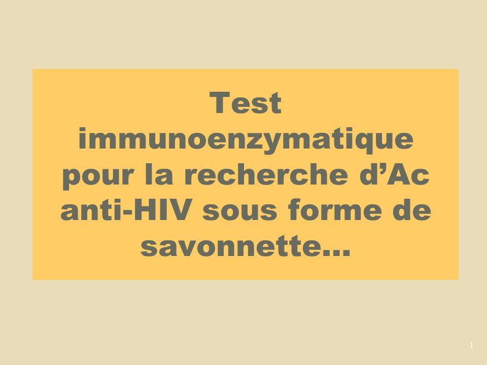 1 Test immunoenzymatique pour la recherche dAc anti-HIV sous forme de savonnette…