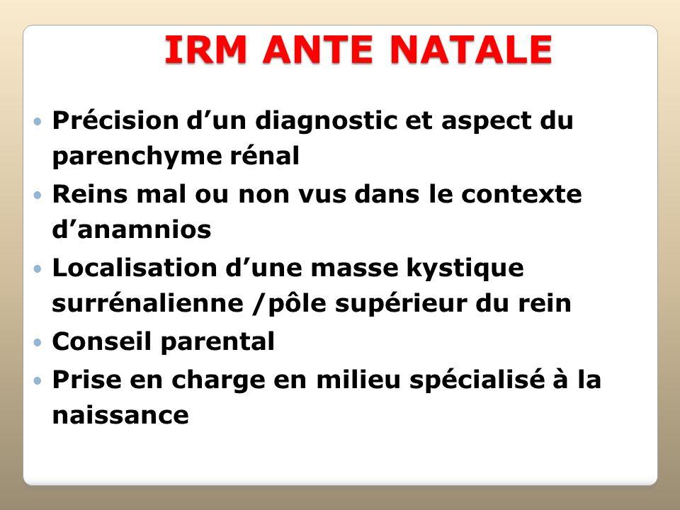 IRM ANTE NATALE Précision dun diagnostic et aspect du parenchyme rénal Reins mal ou non vus dans le contexte danamnios Localisation dune masse kystiqu