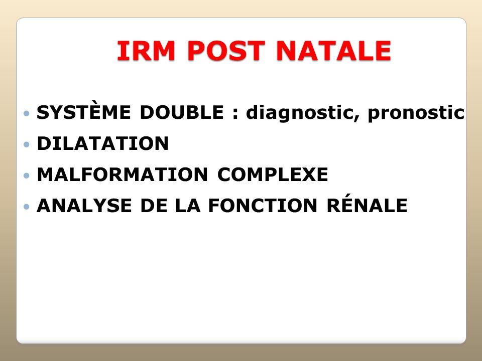 IRM POST NATALE SYSTÈME DOUBLE : diagnostic, pronostic DILATATION MALFORMATION COMPLEXE ANALYSE DE LA FONCTION RÉNALE