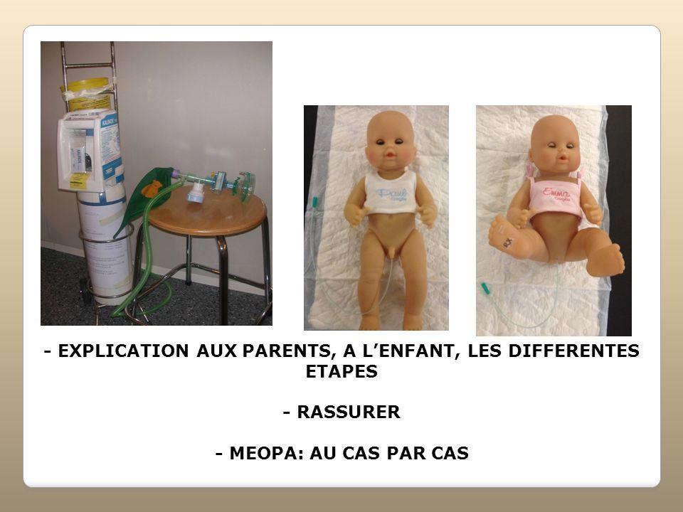 - EXPLICATION AUX PARENTS, A LENFANT, LES DIFFERENTES ETAPES - RASSURER - MEOPA: AU CAS PAR CAS