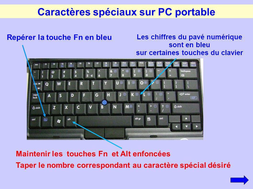 Caractères spéciaux sur PC portable Repérer la touche Fn en bleu Les chiffres du pavé numérique sont en bleu sur certaines touches du clavier Mainteni