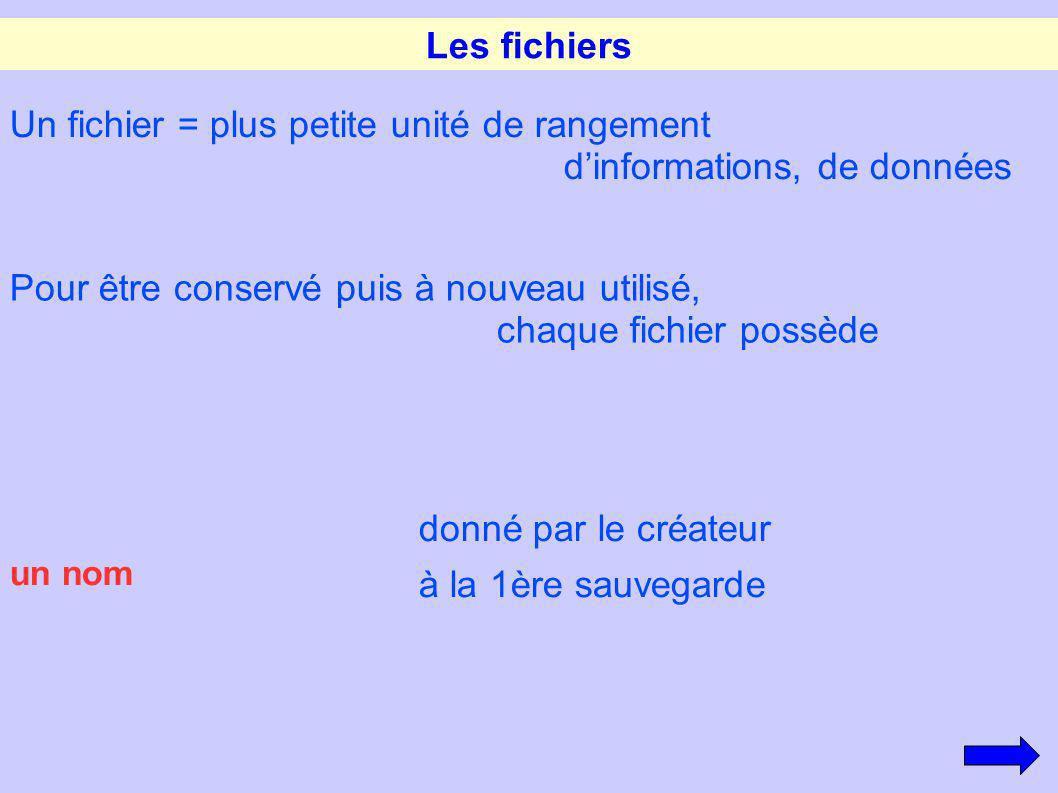 Les fichiers un nom donné par le créateur à la 1ère sauvegarde Un fichier = plus petite unité de rangement dinformations, de données Pour être conserv
