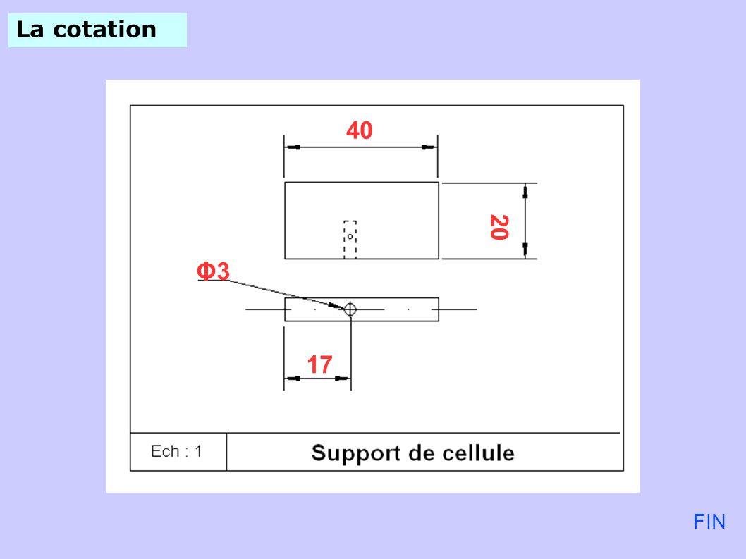La cotation 40 20 Φ3 17 FIN