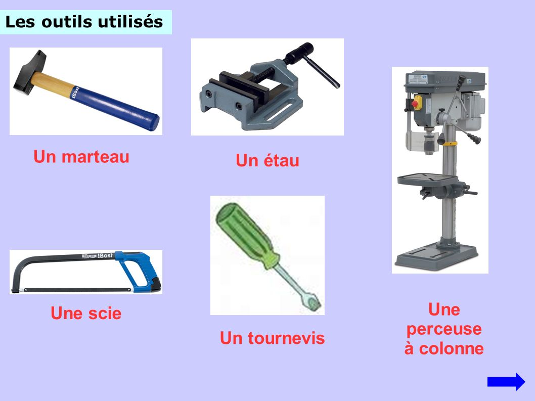 Les outils utilisés Un marteau Un étau Un tournevis Une scie Une perceuse à colonne