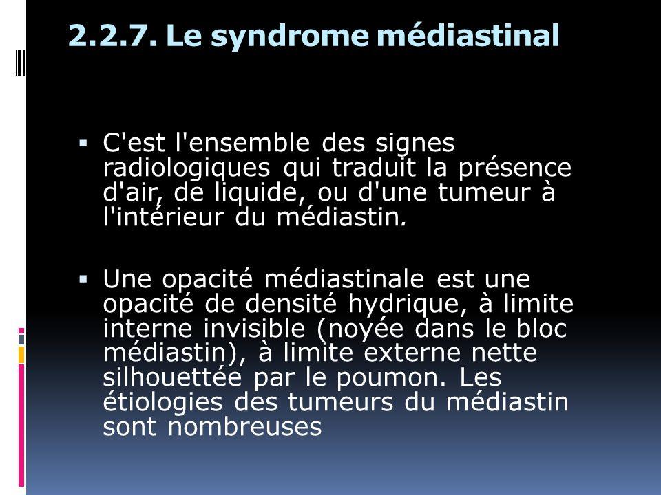 2.2.7. Le syndrome médiastinal C'est l'ensemble des signes radiologiques qui traduit la présence d'air, de liquide, ou d'une tumeur à l'intérieur du m
