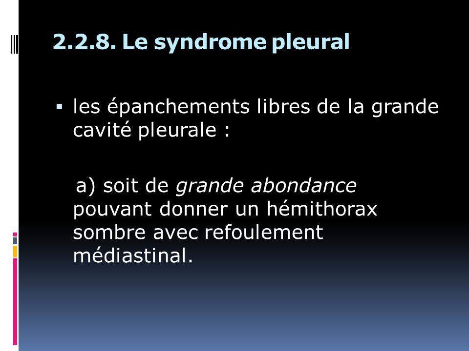 2.2.8. Le syndrome pleural les épanchements libres de la grande cavité pleurale : a) soit de grande abondance pouvant donner un hémithorax sombre avec