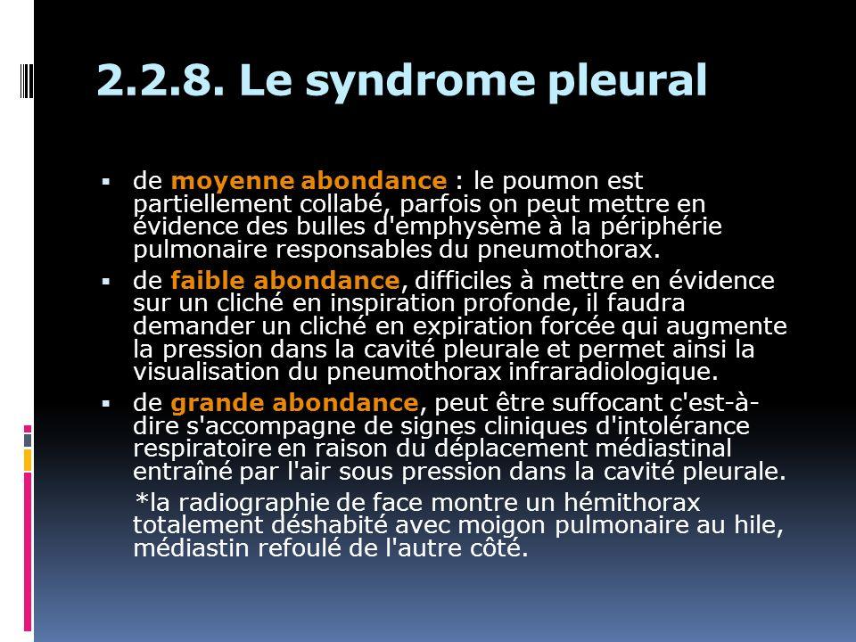 2.2.8. Le syndrome pleural de moyenne abondance : le poumon est partiellement collabé, parfois on peut mettre en évidence des bulles d'emphysème à la