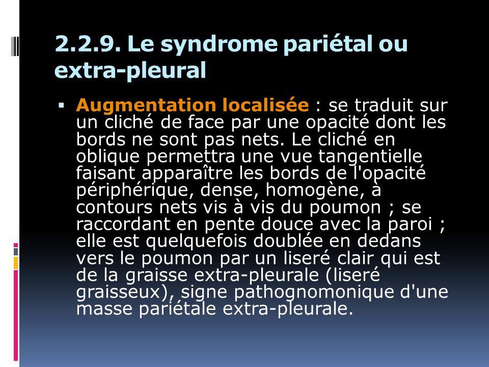 2.2.9. Le syndrome pariétal ou extra-pleural Augmentation localisée : se traduit sur un cliché de face par une opacité dont les bords ne sont pas nets