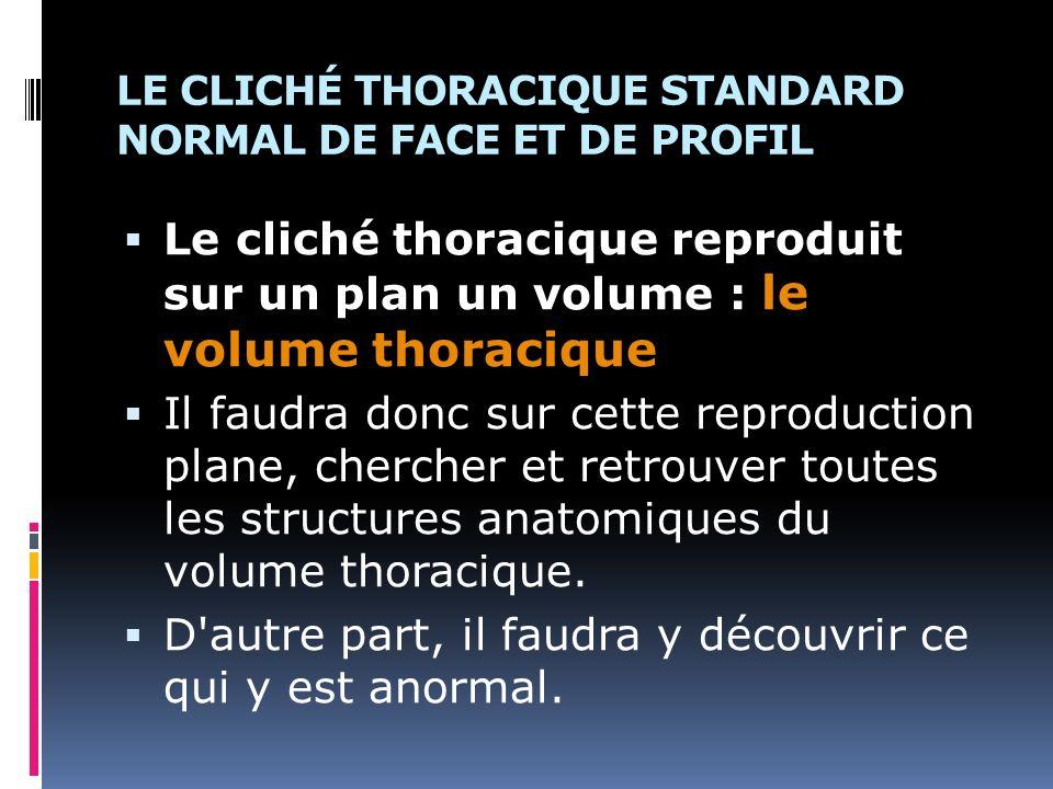 LE CLICHÉ THORACIQUE STANDARD NORMAL DE FACE ET DE PROFIL Le cliché thoracique reproduit sur un plan un volume : le volume thoracique Il faudra donc s