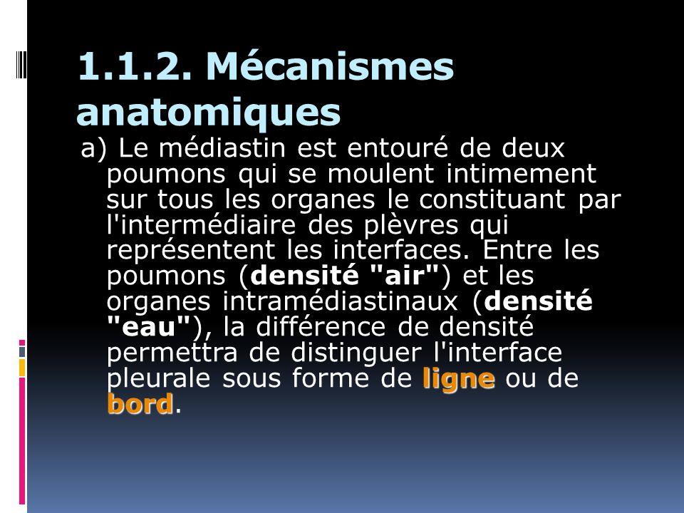 1.1.2. Mécanismes anatomiques ligne bord a) Le médiastin est entouré de deux poumons qui se moulent intimement sur tous les organes le constituant par