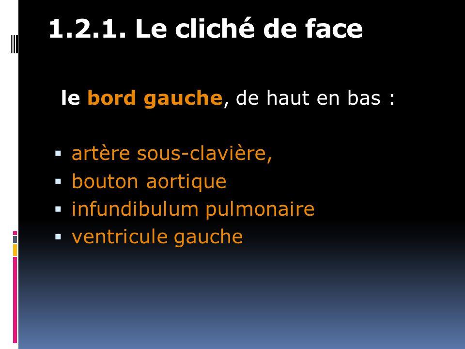 1.2.1. Le cliché de face le bord gauche, de haut en bas : artère sous-clavière, bouton aortique infundibulum pulmonaire ventricule gauche