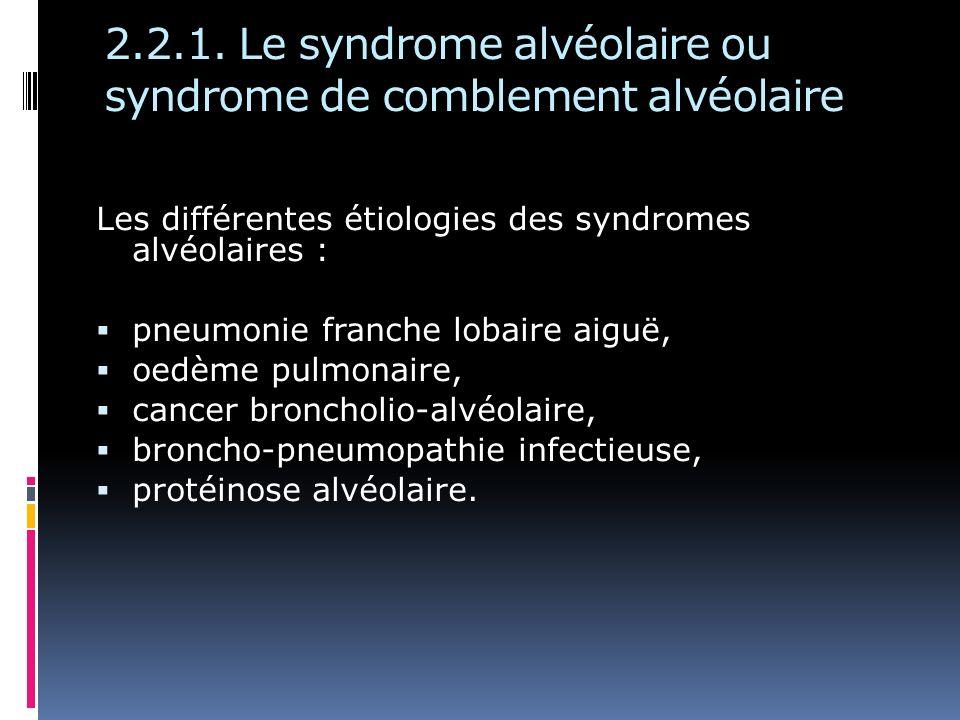 2.2.1. Le syndrome alvéolaire ou syndrome de comblement alvéolaire Les différentes étiologies des syndromes alvéolaires : pneumonie franche lobaire ai