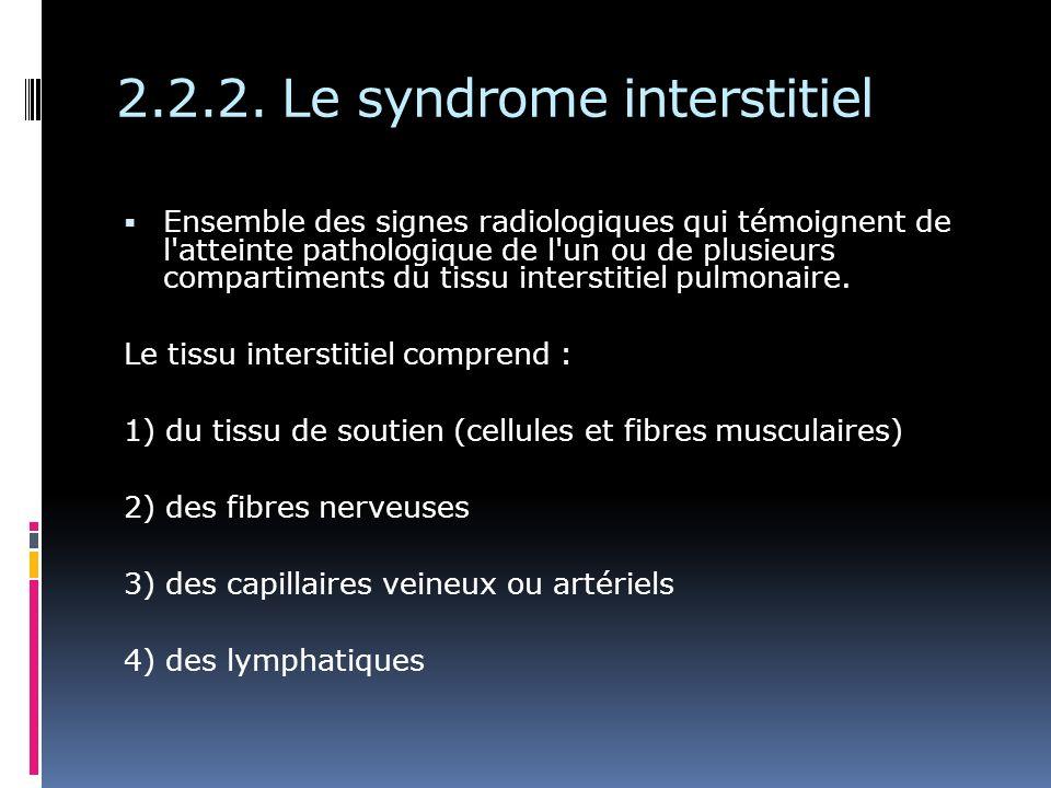 Ensemble des signes radiologiques qui témoignent de l atteinte pathologique de l un ou de plusieurs compartiments du tissu interstitiel pulmonaire.