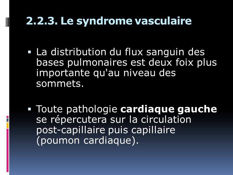 2.2.3. Le syndrome vasculaire La distribution du flux sanguin des bases pulmonaires est deux foix plus importante qu'au niveau des sommets. Toute path