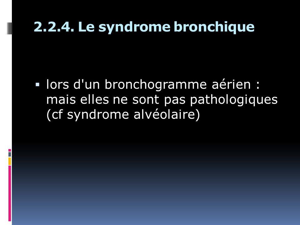 lors d'un bronchogramme aérien : mais elles ne sont pas pathologiques (cf syndrome alvéolaire)