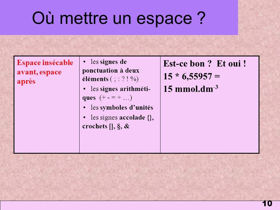 10 Où mettre un espace ? Espace insécable avant, espace après les signes de ponctuation à deux éléments ( ; : ? ! %) les signes arithméti- ques (+ - =