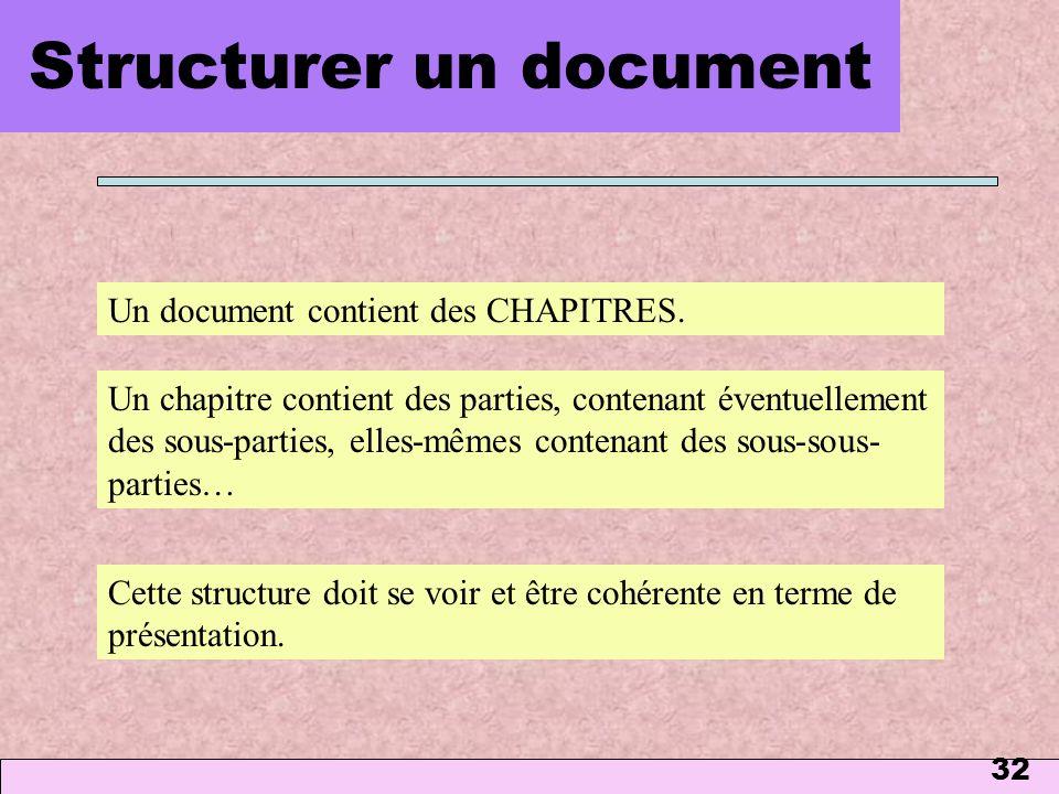 32 Structurer un document Un chapitre contient des parties, contenant éventuellement des sous-parties, elles-mêmes contenant des sous-sous- parties… U