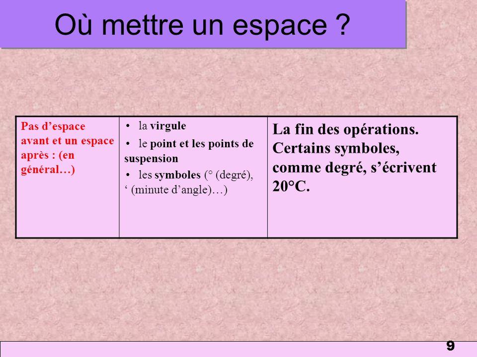 9 Où mettre un espace ? Pas despace avant et un espace après : (en général…) la virgule le point et les points de suspension les symboles (° (degré),