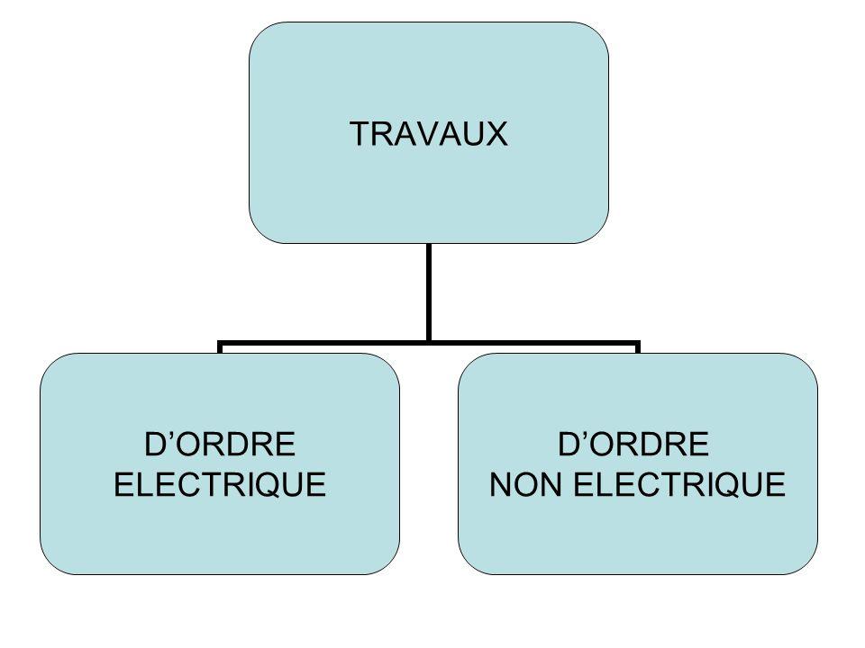 TRAVAUX DORDRE ELECTRIQUE DORDRE NON ELECTRIQUE