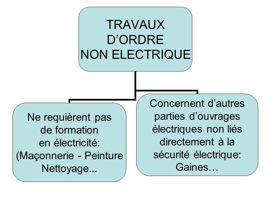 TRAVAUX DORDRE NON ELECTRIQUE Ne requièrent pas de formation en électricité: (Maçonnerie - Peinture Nettoyage...