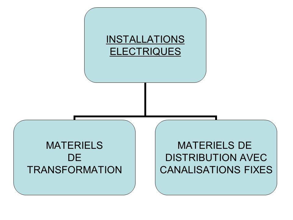 INSTALLATIONS ELECTRIQUES MATERIELS DE TRANSFORMATION MATERIELS DE DISTRIBUTION AVEC CANALISATIONS FIXES