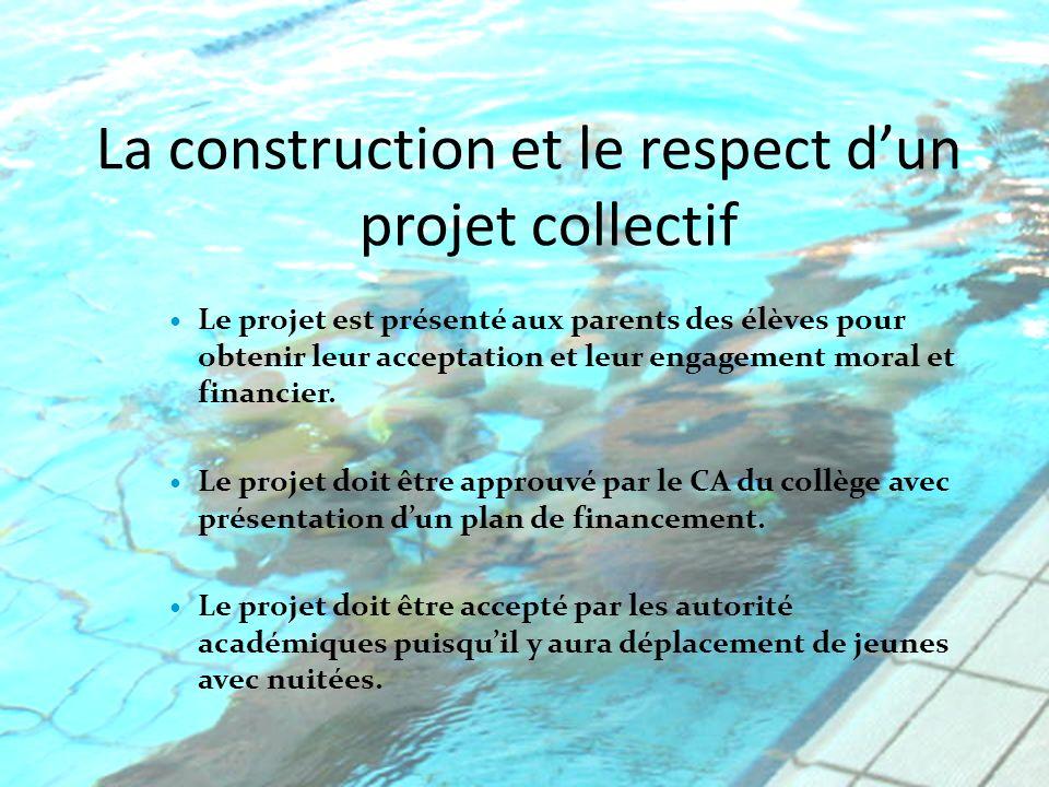 La construction et le respect dun projet collectif Le projet est présenté aux parents des élèves pour obtenir leur acceptation et leur engagement moral et financier.