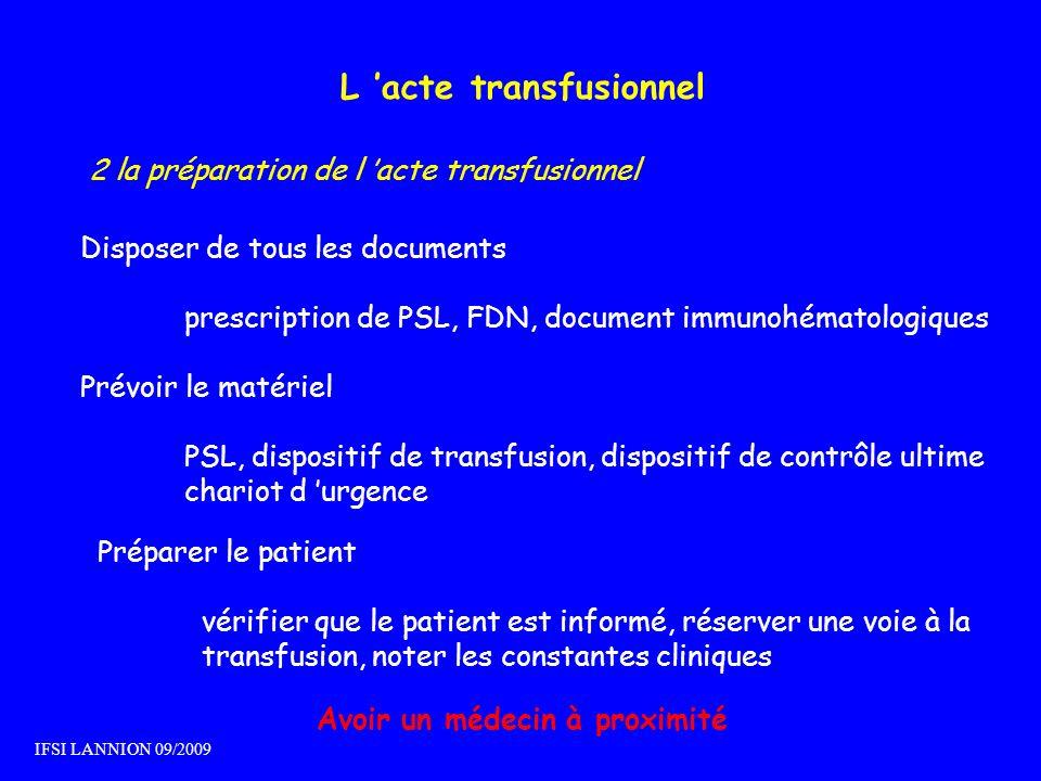 L acte transfusionnel 2 la préparation de l acte transfusionnel Disposer de tous les documents prescription de PSL, FDN, document immunohématologiques