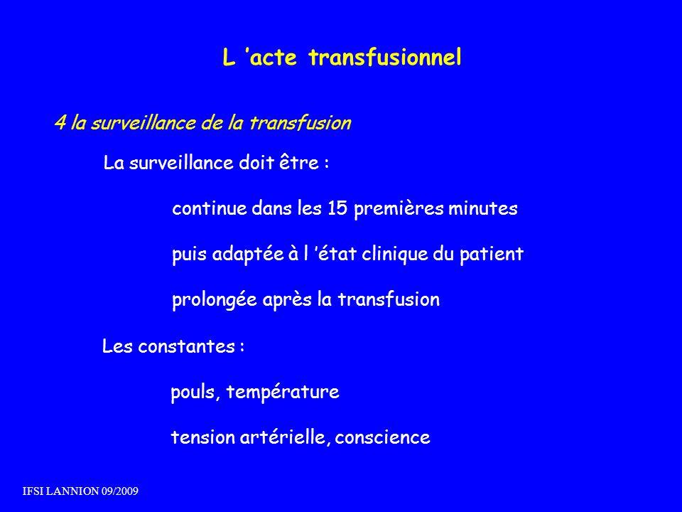 L acte transfusionnel 4 la surveillance de la transfusion La surveillance doit être : continue dans les 15 premières minutes puis adaptée à l état cli