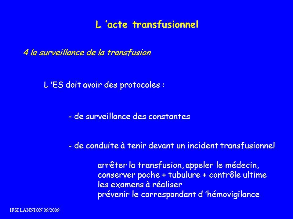 L acte transfusionnel 4 la surveillance de la transfusion L ES doit avoir des protocoles : - de surveillance des constantes - de conduite à tenir deva