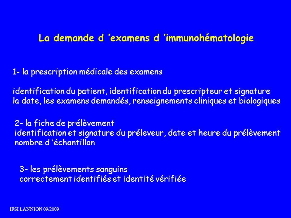 La demande d examens d immunohématologie 1- la prescription médicale des examens identification du patient, identification du prescripteur et signatur